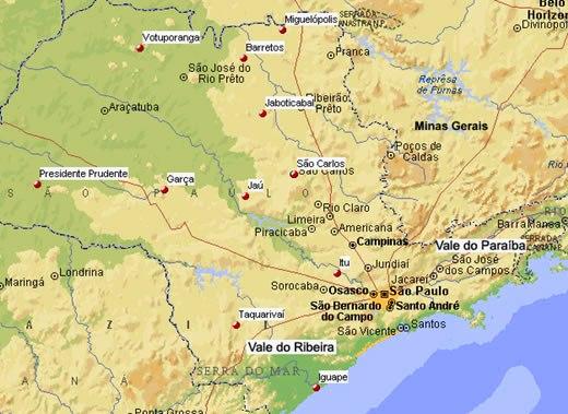 Mapa físico de São Paulo