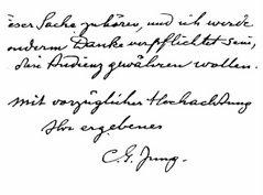 Muestra de Escritura de Carl G. Jung
