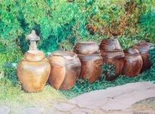 Kimchi Pots (watercolor pencils)