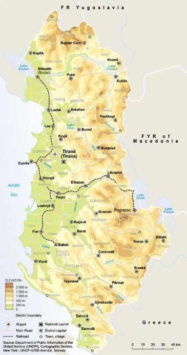 Albanian Map - Harta e Shqiperise