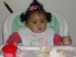 Harmony Eating birthday cake