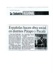 ESPAÑOLAS HACEN OBRA SOCIAL EN DISTRIROS DE PATAPO Y PUCALA