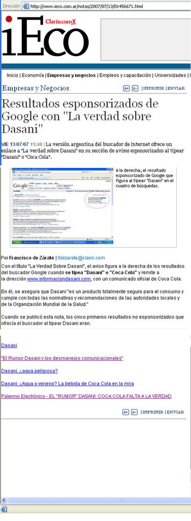 """Repercusiones de la """"denuncia"""" de Coca"""