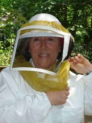 Linda in her beesuit