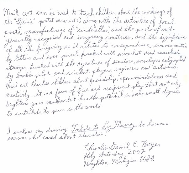 Chevalier Daniel C. Boyer--Michigan, USA--Rcvd 04/07--Letter about use of mailart in classroom