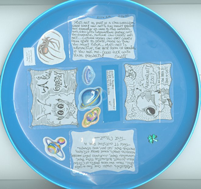 "Inside of frisbee --""Mail-art as part of a class curriculum...great idea!..."""