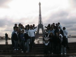 Exploring Europe:  Students in front of the Eiffel Tower