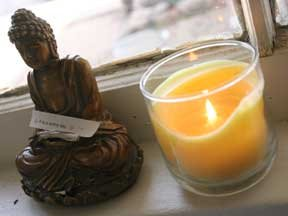 Buddha and candle in my studio