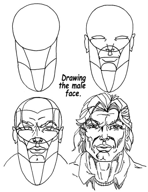 Simple Technique To Drawing A Male Comic Book Style Face.