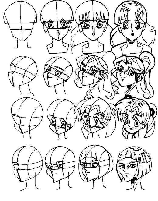 FEMALE MANGA AND ANIME HEADS