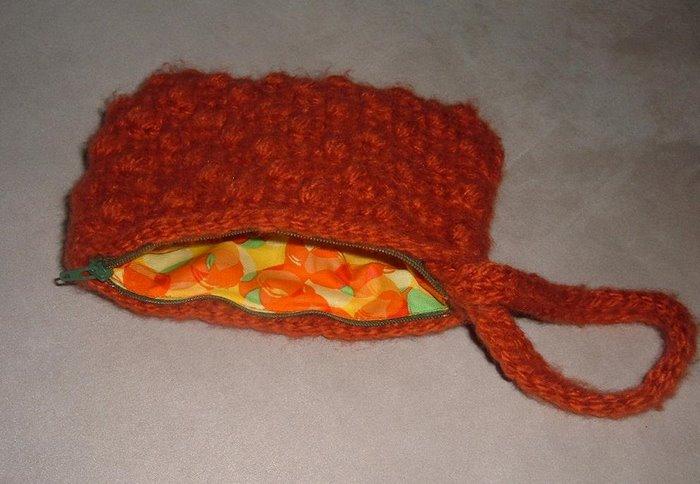 Crochet Popcorn Wristlet-orange