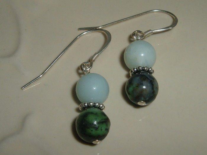Peking Onxy and African Turquoise Earring