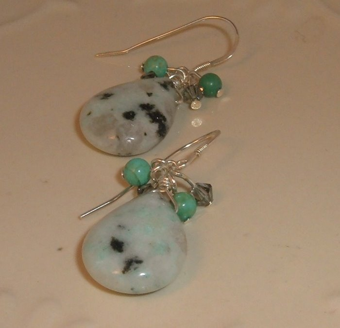 Dalmation Jasper with Smoky Swarovski and Chinese Turquoise Earring