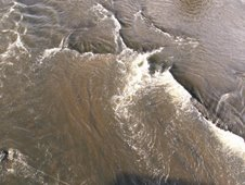 Rich Ribble silts washing downstream at low tide