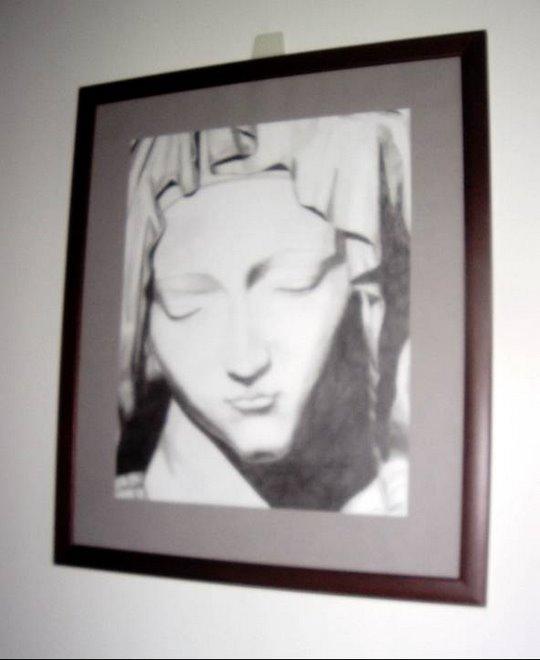 Rosto da Virgem: a partir de Pietá de Miguel Ângelo- Grafite Sobre Cartolina
