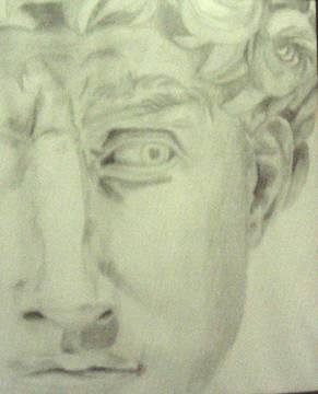 Rosto de David, a partir da pobra de Miguel Ângelo- Grafite sobre Cartolina