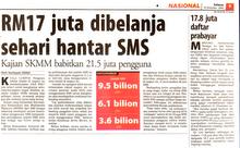 Info Perbelanjaan SMS Rakyat Malaysia 1 Hari