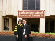 With husband(Ajarn Nattanun Siricharoen): At Thammasat University