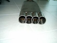 "Home made 2.5"" stainless muffler."