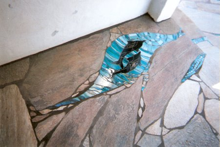 Blue Glass Mosaic Dolphins