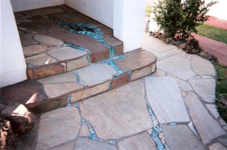 Blue Glass Mosaic Porch