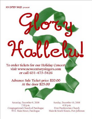 New Century Singers concert on December 10: Glory Hallelu!