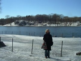 It's good to have a MINK coat - Jean at the Harlem end of Central Park - just after it had snowed