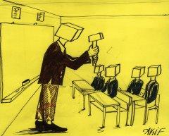Örselenmiş öğretmen çekiç, öğrenci örs