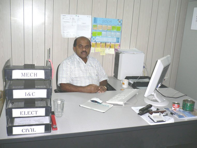 S.M. Arif Maricar in Az-zour Site Office