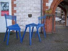 Casita en azulejos; bienvenidos, entren y tomen asiento