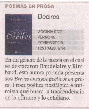 """Breve comentario sobre """"Decires..."""" publicado en Ñ, el Suplemento Cultural de Clarín."""