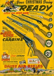 An official Red Ryder carbine action two-hundred shot range model air rifle with a compass in the stock and this thing that tells time.