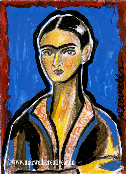 Frida on Blue ACEO