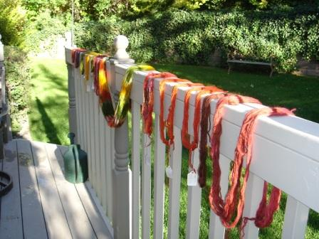 Drying my first dyed yarn
