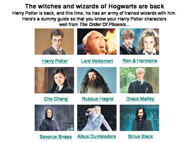 The wizards and witches of Hogwarts
