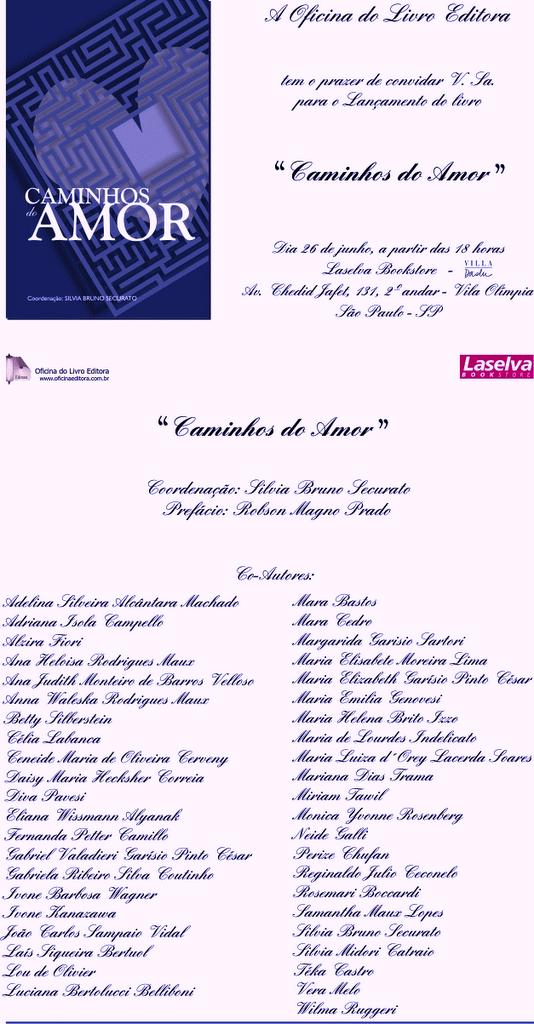"""CONVITE """"CAMINHOS DO AMOR"""""""