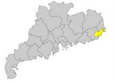 Map of Guangdong Province: Shantou Highlighted in Yellow