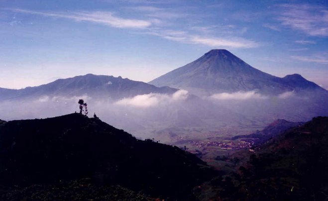 Volcano chain at Dieng Plateau, Central Java