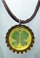 Four Leaf Clover Bottlecap Necklace
