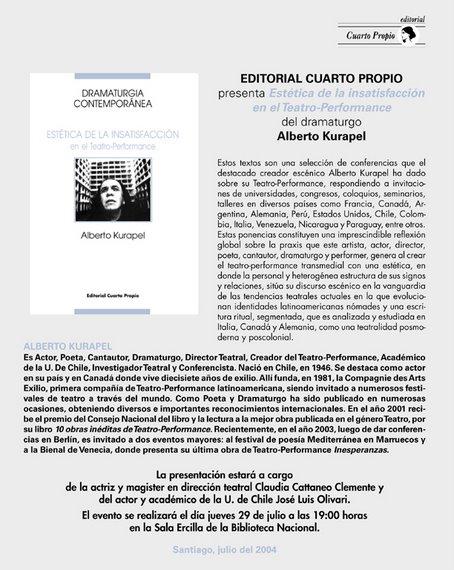 """""""Estética de la Insatisfacción en el Teatro-Performance"""" de Alberto Kurapel"""