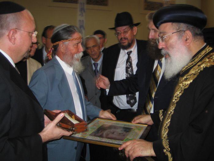 Entrega de cuadro de la Sinagoga de Lorca al Gran Rabino de Israel Schelomo Amar Schlittal