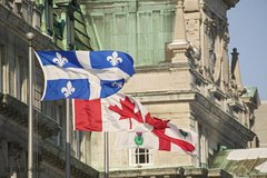 The Quebec and Canada Flag