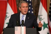 President George W. Bush responds to a question Thursday, Nov. 30, 2006, during a joint press availability in Amman, Jordan, with Iraq's Prime Minister Nouri al-Maliki. White House photo by Paul Morse.