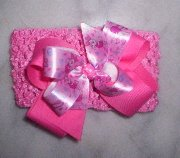 Disney Little Piglet HairBows on a Crochet Pink Headband