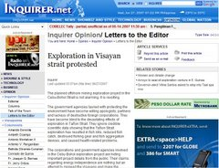 Exploration in Visayan strait protested
