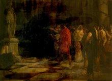 Julio César ante la estatua de Alejandro en el Herakleión gaditano