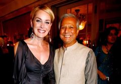 Professor Yunus with Sharon Stone in Nobel Banquet