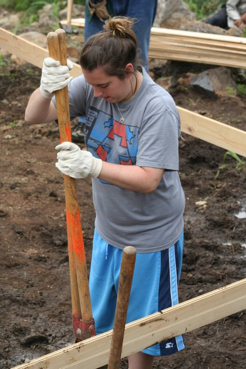 Mary Catherine digging