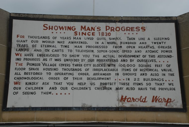 Sign at Pioneer Village