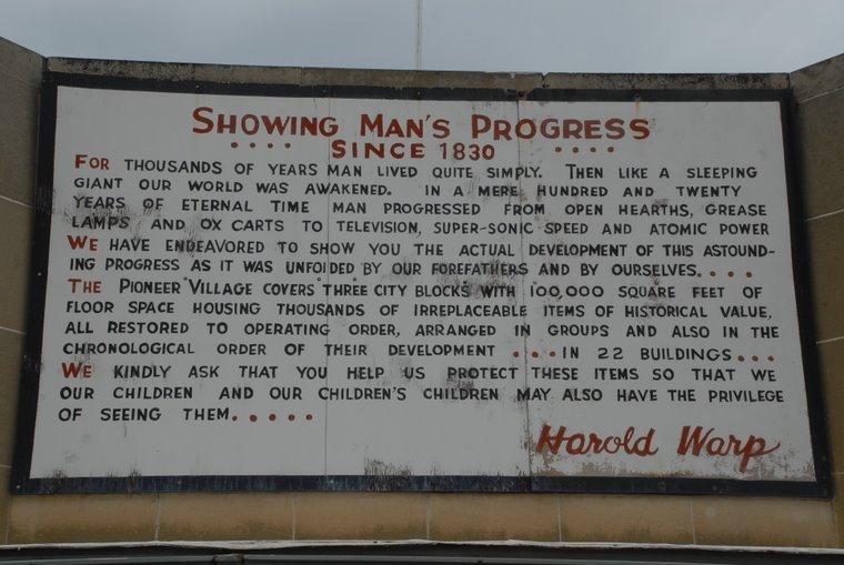 Sign at Pioneer Village